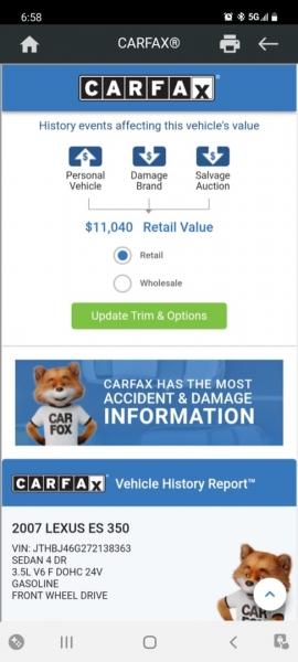 Lexus ES 350 2007 price $8,999 Cash
