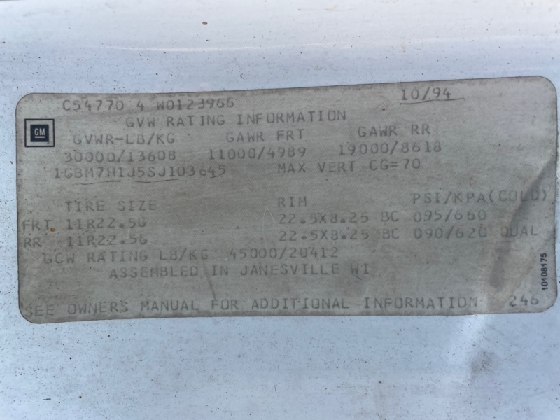 CHEVROLET KODIAK 1995 price $10,499