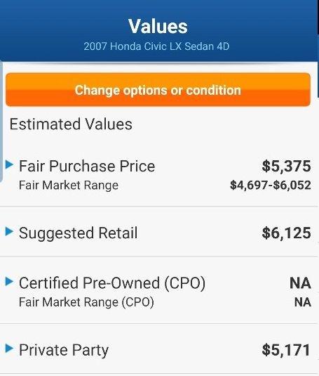 HONDA CIVIC - LX 2007 price $3,999