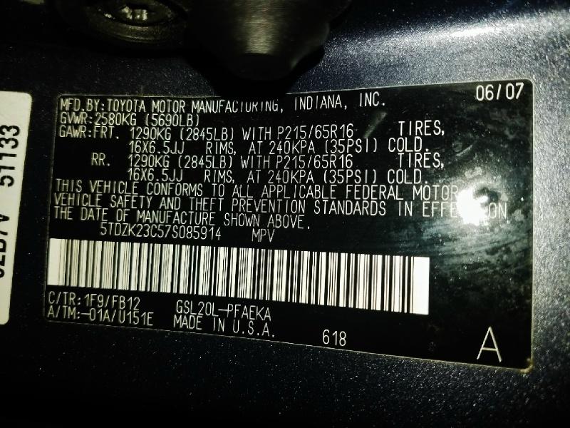 Toyota Sienna 2007 price $4,450