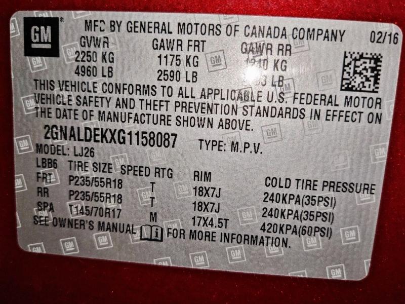 Chevrolet Equinox 2016 price $20,950
