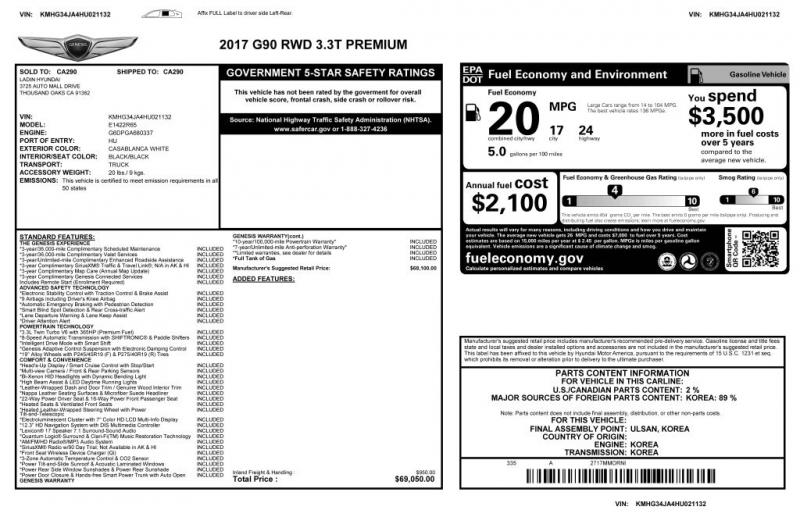 GENESIS G90 2017 price $31,000