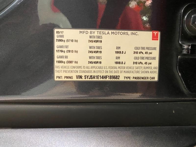 Tesla Model S 2017 price $52,888