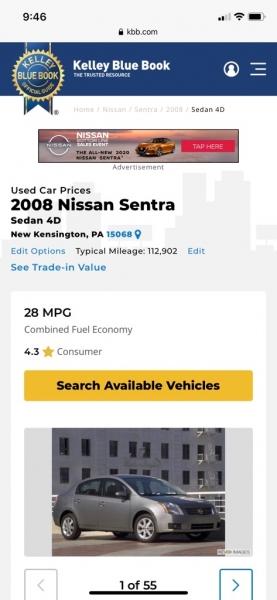 NISSAN SENTRA 2008 price $4,995