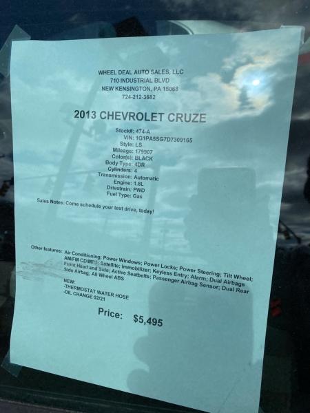 CHEVROLET CRUZE 2013 price $5,200