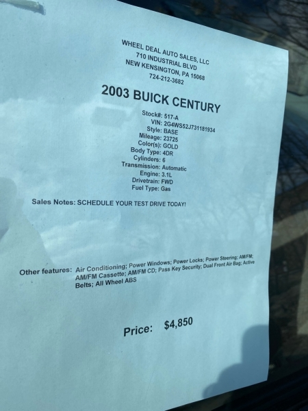 BUICK CENTURY 2003 price $5,850