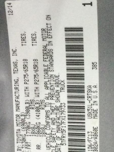 TOYOTA TUNDRA 2015 price $21,637