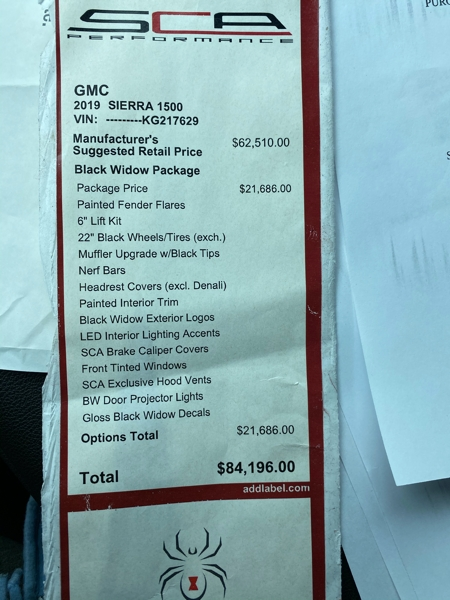 GMC Sierra 1500 2019 price $64,500
