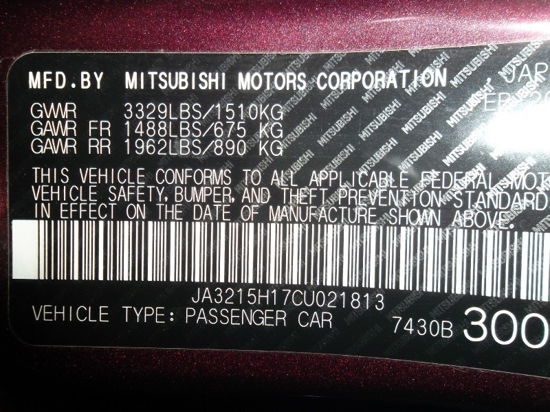 Mitsubishi i-MiEV 2012 price $6,477