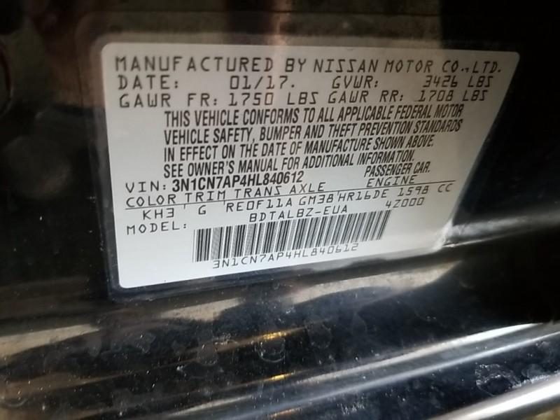 Nissan Versa 2017 price $11,377
