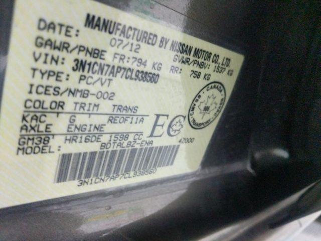 Nissan Versa 2012 price $0