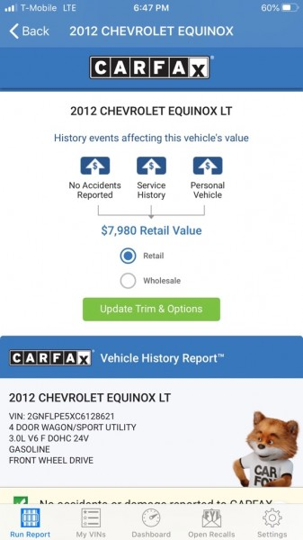 CHEVROLET EQUINOX 2LT 2012 price $6,495