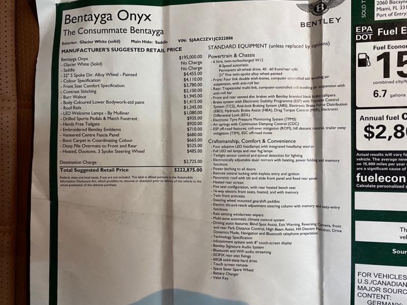 BENTLEY BENTAYGA ONYX 2018 price $157,995