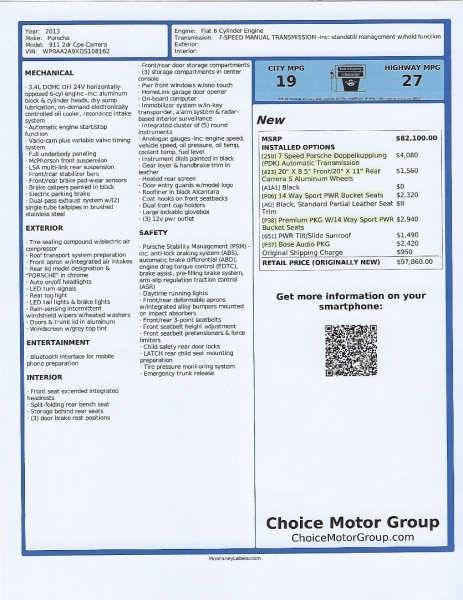 Porsche 911 2013 price $75,900