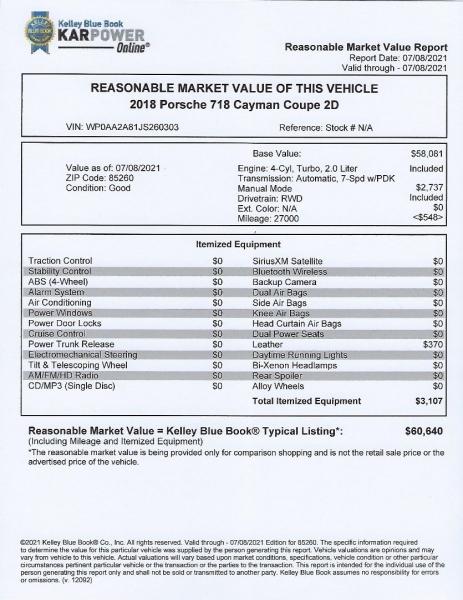 Porsche 718 Cayman 2018 price $64,900