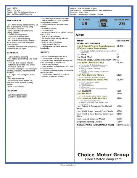 Porsche 911 2010 price $55,500