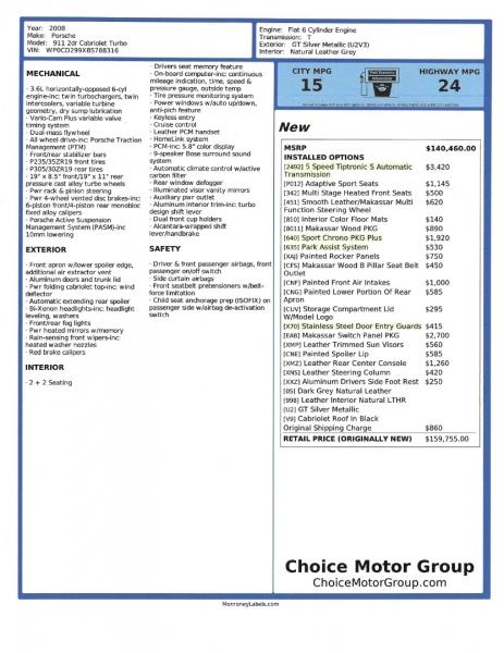 Porsche 911 2008 price $93,500