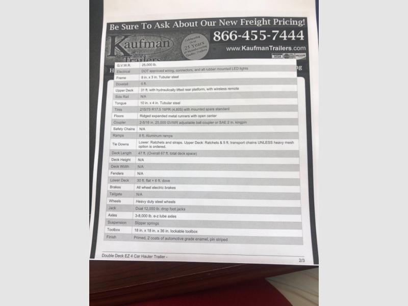 Kaufman Trailer 4 Car Hauler 2018 price $19,895