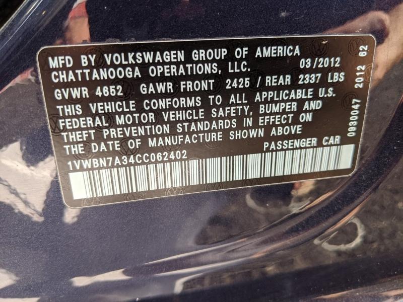 Volkswagen Passat 2012 price $8,795