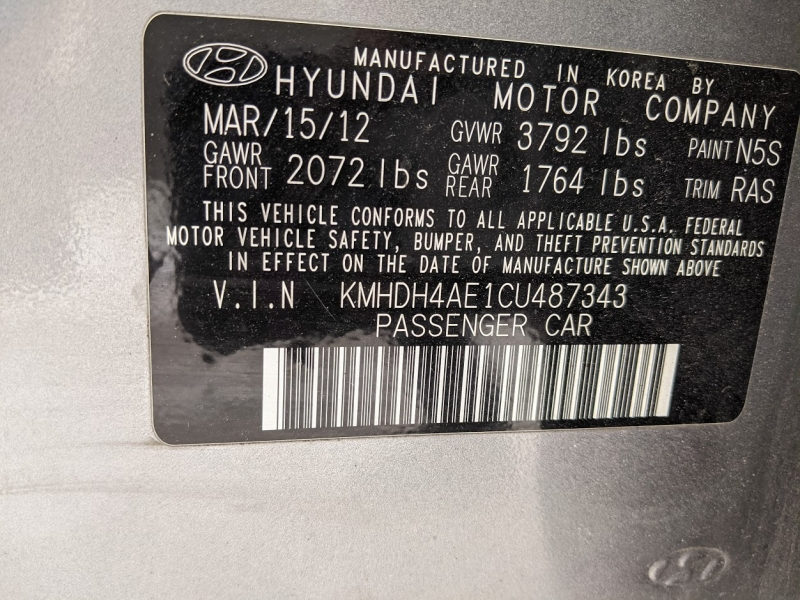 Hyundai Elantra 2012 price $6,495